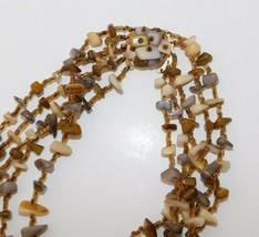 Vintage Japan Polished Shell & Stone Chip Necklace Multi Strand Japanese... - $12.55