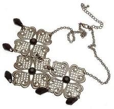 Ladies fashion necklace with black bead design IAS357 - $16.80