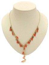 Ladies fashion necklace orange plastic beads design 382 - $22.44 CAD