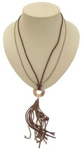 Ladies fashion necklace brown cord design 375 - $16.80