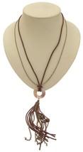 Ladies fashion necklace brown cord design 375 - $339,61 MXN