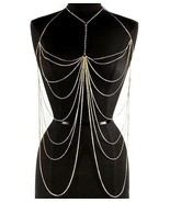 Body Chain Elegant Draping Chains Crystals Gold... - $23.99