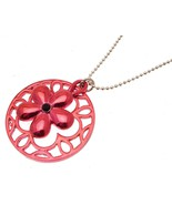Ladies fashion necklace red disc and floral design 516 - $16.80