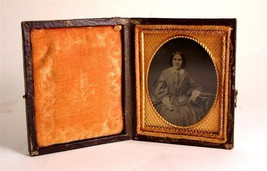 c1860 1/9 plate Ambrotype seated Victorian Woman - $78.08