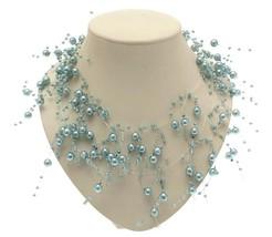 Ladies plastic beads in pale blue bead - midnight design - $12.98