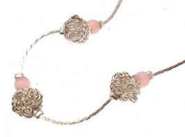 Fashion necklace silver ball and pink bead design IAS72 - $14.43