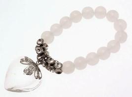 Bead Bracelet Heart drop and diamante stones 114298 - $19.59