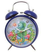 Alarm clock in blue with Seahorse design - battery operated - $18.93