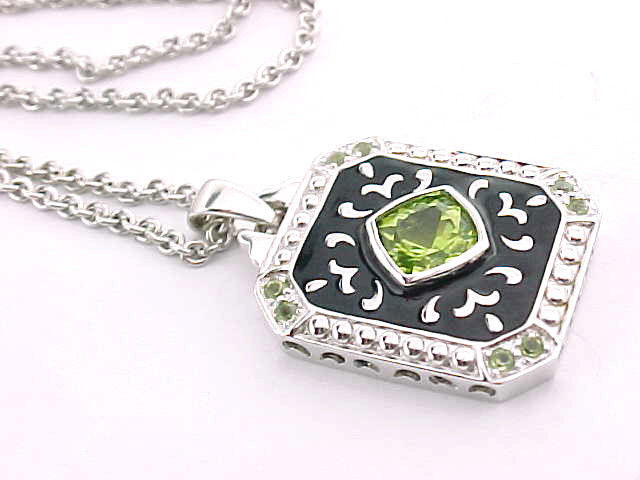 PERIDOT andBLACK ENAMEL Pendant in STERLING Silver with STERLING Chain