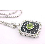PERIDOT andBLACK ENAMEL Pendant in STERLING Silver with STERLING Chain  - $60.00