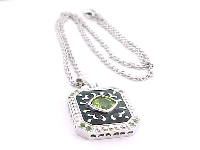 PERIDOT andBLACK ENAMEL Pendant in STERLING Silver with STERLING Chain  image 2