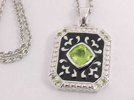 PERIDOT andBLACK ENAMEL Pendant in STERLING Silver with STERLING Chain  image 3