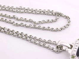 PERIDOT andBLACK ENAMEL Pendant in STERLING Silver with STERLING Chain  image 4