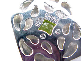 PERIDOT andBLACK ENAMEL Pendant in STERLING Silver with STERLING Chain  image 5