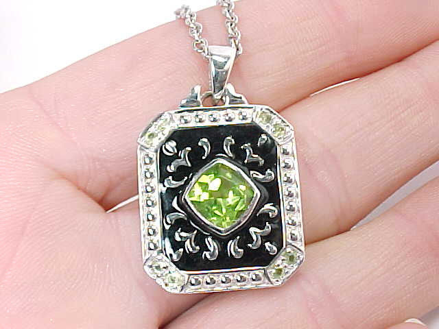 PERIDOT andBLACK ENAMEL Pendant in STERLING Silver with STERLING Chain  image 6