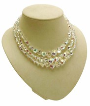Vintage exquisite crystal necklace 3 strand design by lter Archibald Parker - $218.09