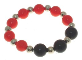 Ladies fashion bracelet in black and red plastic bead design 13551 - $15.53