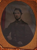 c1860 1/9 plate Ambrotype seated Victorian Gentleman with hand tinted cu... - $89.98