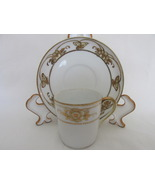 Antique Meito China Demitasse Cup & Saucer - Gilt Floral & Butterflies P... - $22.00