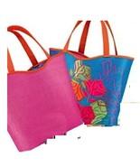Lancome Reversible Tote Bag FUSHIA PINK & PEACOCK BLUE PRINT - $5.99