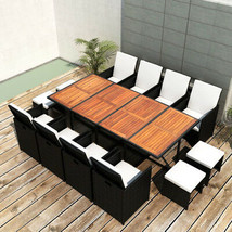 Patio Dining Set Rattan Chairs Wood Table Wicker Large 12 Person XXL Cle... - $1,651.49
