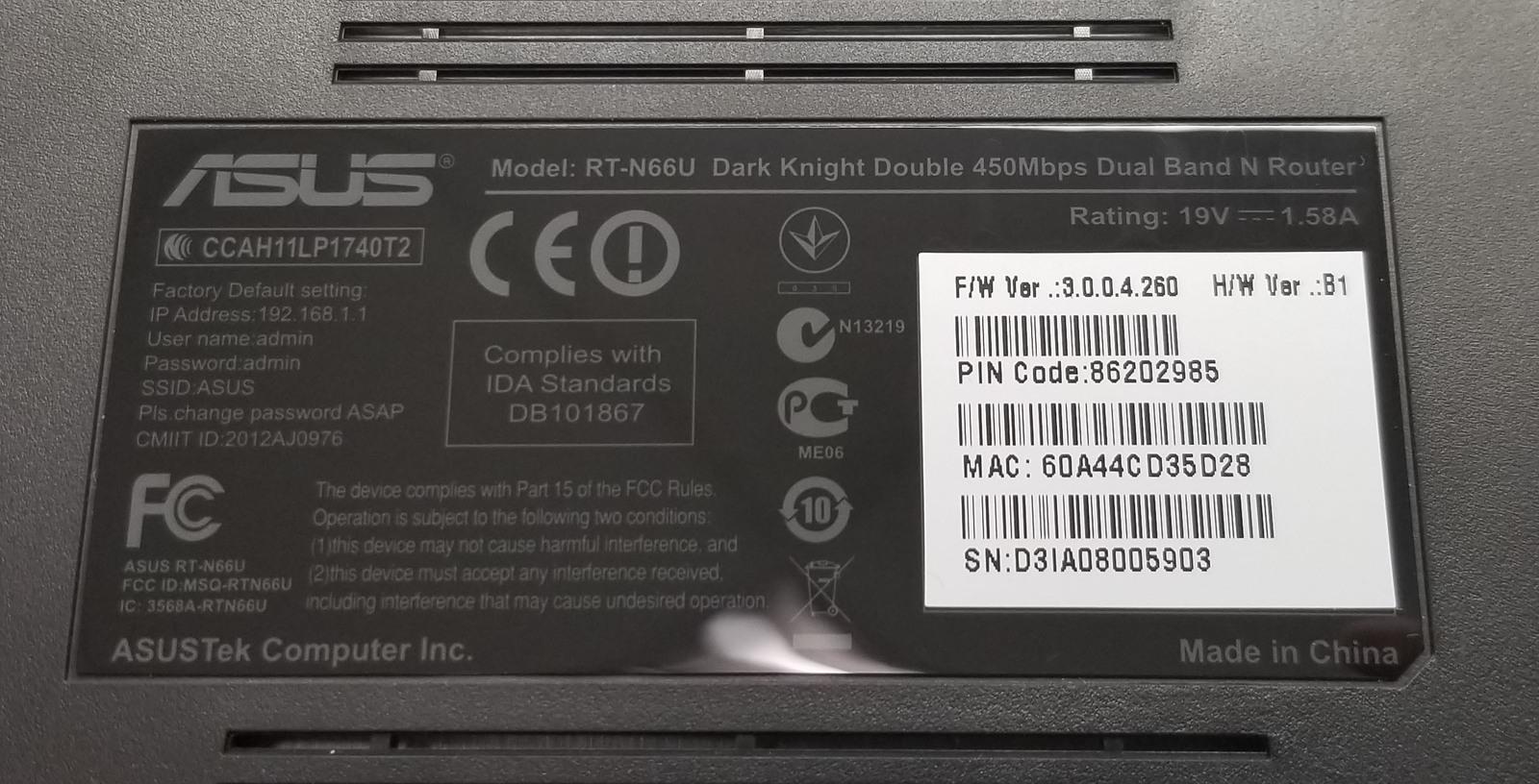 Asus Double 450Mbps N Router RT-N66U Dark Knight Bin:4