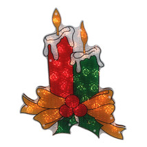 """Northlight 17"""" Lighted Holographic Candle Christmas Window Silhouette De... - $16.57"""