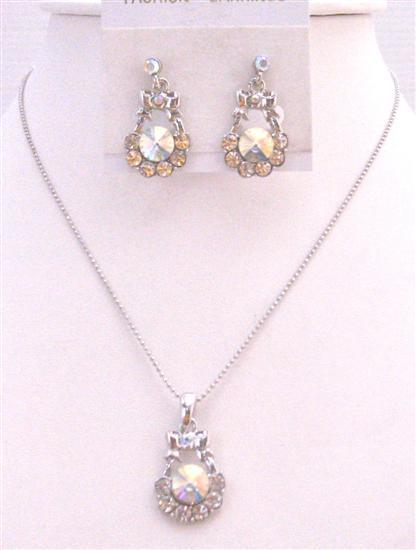 Wedding Jewelry Dainty Cubic Zircon Sleek Elegant Diamante Jewelry Set