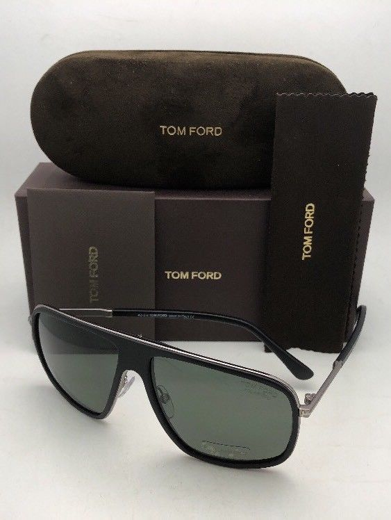 6d583a018a7 Polarized TOM FORD Sunglasses QUENTIN TF 463 02R 60-13 Black Frames Green  Lenses
