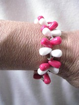 Stretch Bracelet Dark Pink White Acrylic Silver Accents Scrap Ditty Upcy... - $6.46