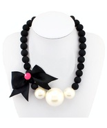 Cute black bow pearl necklace thumbtall