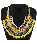 Boho colorful woven resin statement necklace1 thumbtall