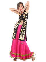 Ira Soleil 2pc set of black sleevless block printed kurti with pink long... - $49.99