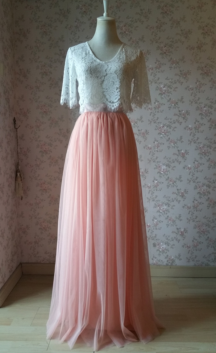 Tulle maxi skirt coral pink 5