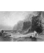 SHIPWRECKED on Shore Scene from Byron's Don Juan - 1860s Engraving Print - $12.15