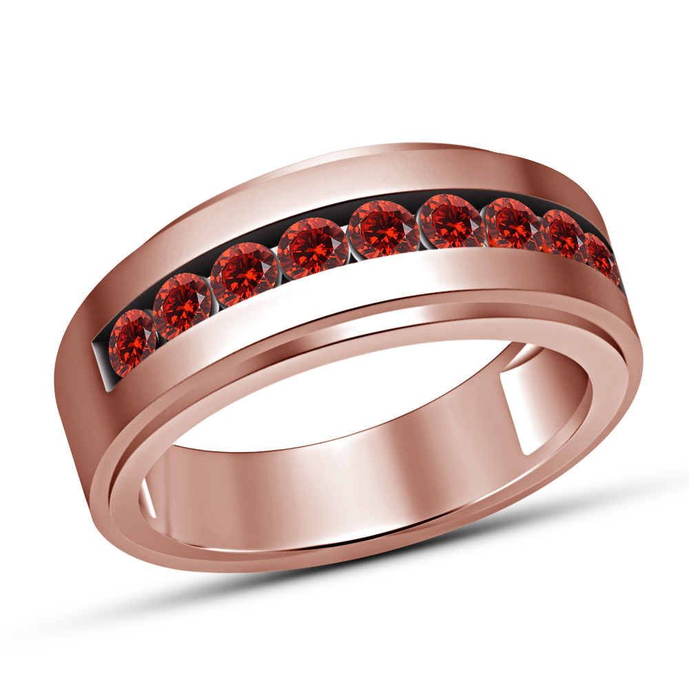 Primary image for Round Cut Red Garnet Engagement Pinky Band Ring Mens Rose Gold Finish 925 Silver