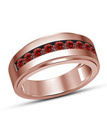 Round Cut Red Garnet Engagement Pinky Band Ring Mens Rose Gold Finish 92... - $67.98