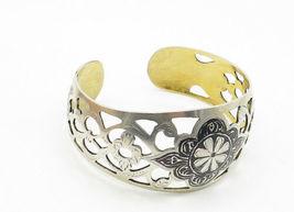 RUSSIA 925 Silver - Vintage Black Enamel Floral Cutout Cuff Bracelet - B6279 image 4
