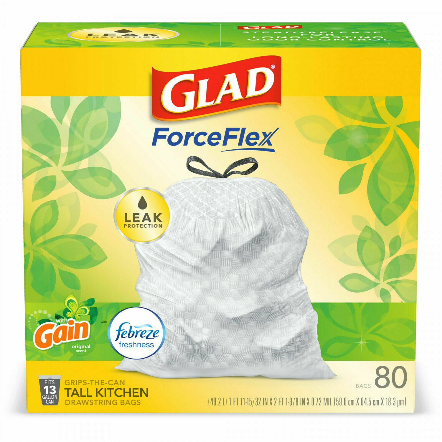 Primary image for Glad Tall Kitchen Trash Bags, 13 Gallon, 80 Bags (ForceFlex, Gain) Heavy duty