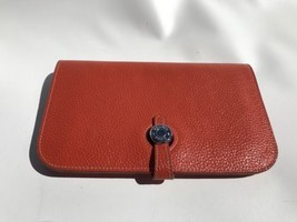 Hermes Orange Poppy Leather Wallet Dogon Due Coin Change Purse Made In France - $1,145.49
