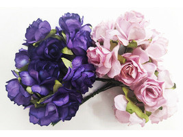 Mulberry Paper Flowers Deep Purple & Lavender Roses, 25mm, 20 Count