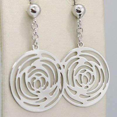 DROP EARRINGS WHITE GOLD 750 18K SHINY AND PERFORATED WITH ROSES MADE IN ITALY