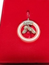 Lenox Girl Christmas Ornament Xmas Baby Ring with Booties Crystal Silver plated - $10.00