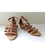 NEW! Lucky Brand Tan Leather LP-LANSER Cork Wedge Strappy Sandals 8.5 M ... - $34.80
