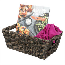 Small Faux Rattan Basket with Cut-out Handles, Coffee - $21.77