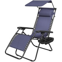 Folding Zero Gravity Recline Lounge Chair Canopy Shade Pillow Cup Access... - $64.45