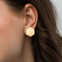 Sterling Silver Hexagon Stud Earrings for your sweet beloved - $38.00