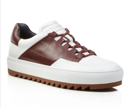 """Salvatore Ferragamo """"Lange"""" White and Brown Lace-up Leather Sneakers (Size 11 D) - $404.10"""