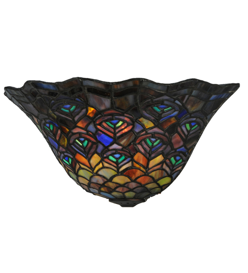 """12.5""""W Peacock Feather Wall Sconce"""