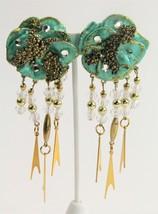 80s VINTAGE Jewelry DANGLY RUNWAY STATEMENT EARRINGS RHINESTONE CRYSTAL ... - $25.00